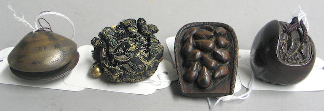 Five wood netsuke nature studies