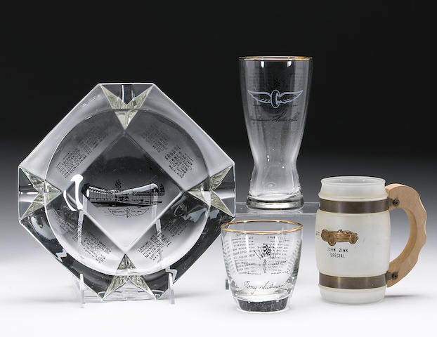 A collection of commemorative Indianapolis 500 glassware,