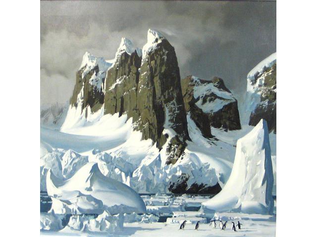 Keith Shackleton  (British b. 1923) Adelie Penguins in Antarctica 24 x 23 3/4in