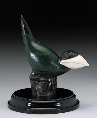 A rare Marcel Bouraine bird mascot with Ivory beak, French, circa 1920,