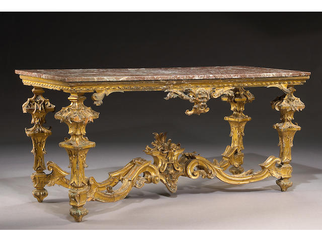 An Italian Baroque carved giltwood console table