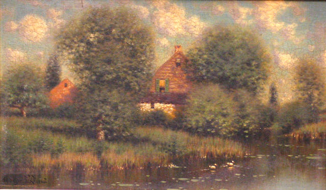 George W. Drew (American 1875-1968) A home by a lake 6 x 10in