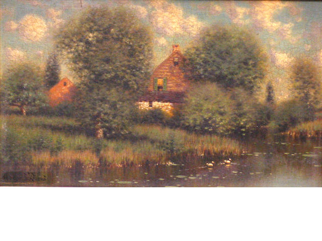 George Drew.  American House on a Lake.  o/p.