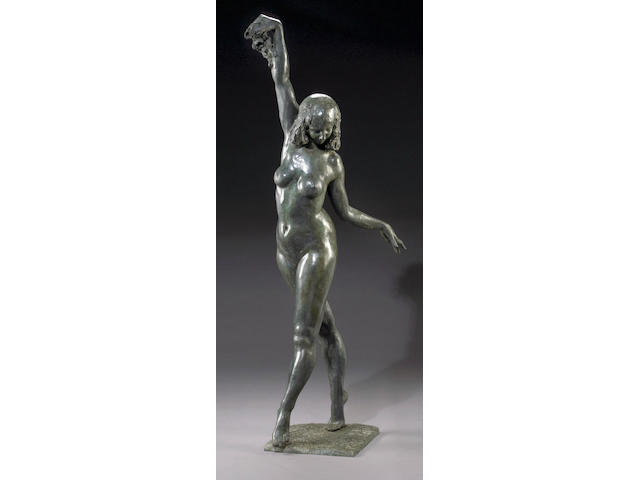 A life size bronze figure of a dancer