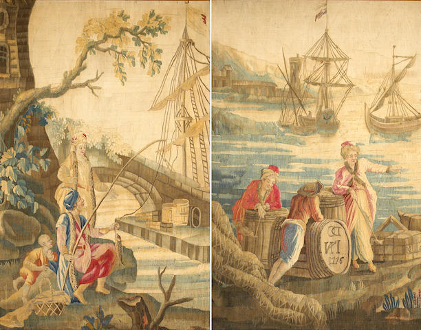 A pair of Aubusson tapestry panels