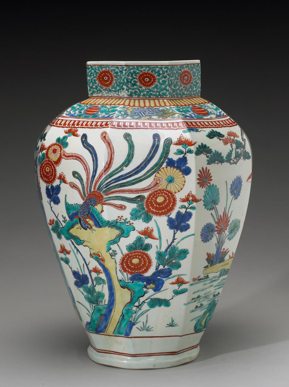 An Arita ware Kakiemon style octagonal porcelain jar Edo Period