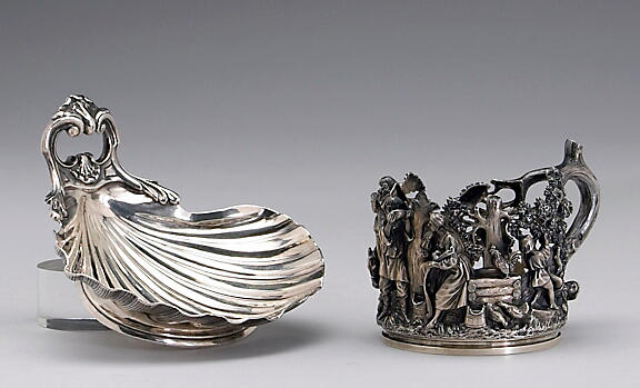Russian Silver Tea Glass Holder by Nichols & Plincke with a French Export Silver Butter Shell