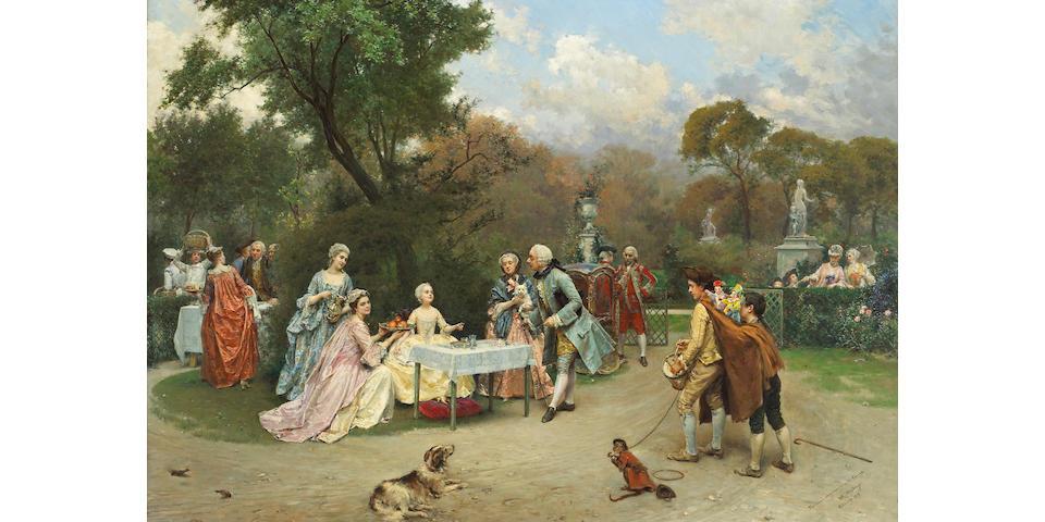 Raimundo de Madrazo y Garreta (Spanish 1841-1920) A little princess in the gardens at Versailles 35 x 46in (89 x 117cm)