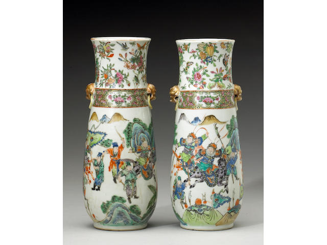 a pair of famille rose enameled porcelain vases with rose medallion border, 19th century, glazed cra