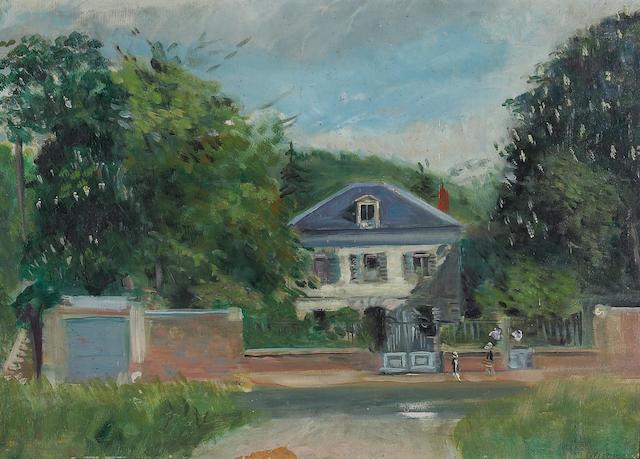 "Lucian Adrion ""Maison"" oil on panel."