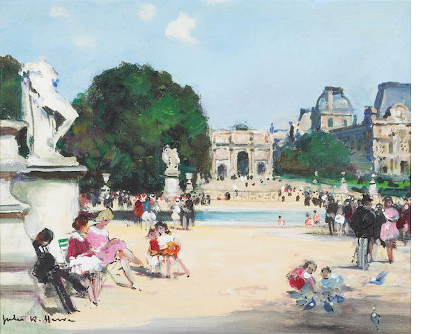 Jules Herve Jardin des Tuileries oil on canvas