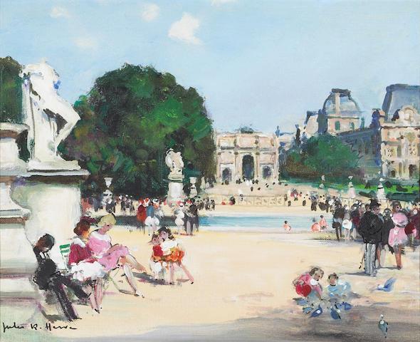 Jules Herve Jardin des Tuileries oil on canvas