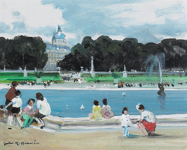 Jules Herve Jardin des Tuileries, oil on canvas framed