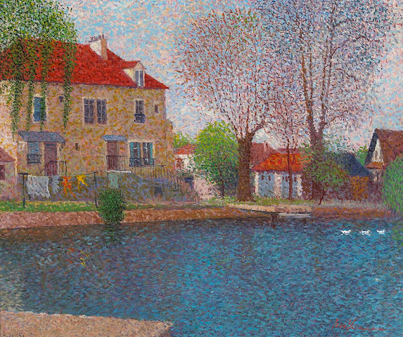 Jean Voilet, French Houses by a Pond, oil on canvas