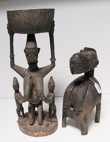 Two African items: figure, mask