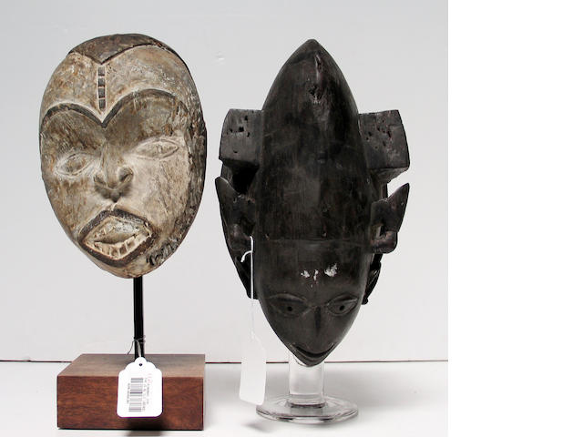 Two Nigerian items: carved head, mask
