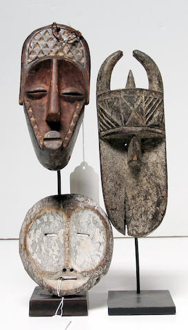Three African masks: Eket, Guere, Chokwe