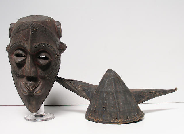 Two African items: Kuba mask, Yaka helmet