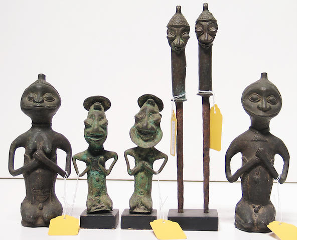 Six African bronze items