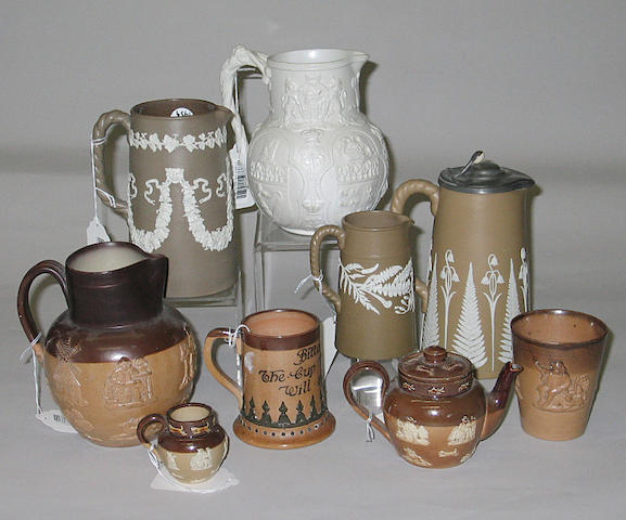 An assembled group of nine pieces of English stoneware