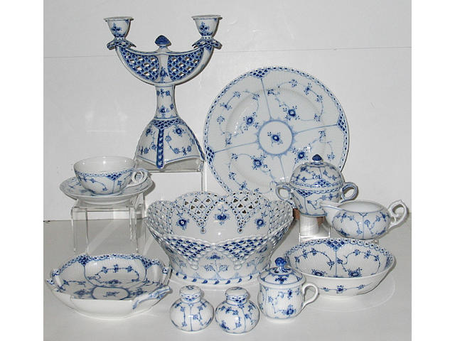 A Royal Copenhagen porcelain blue and white assembled partial dinner service in various 'Blue Fluted' patterns