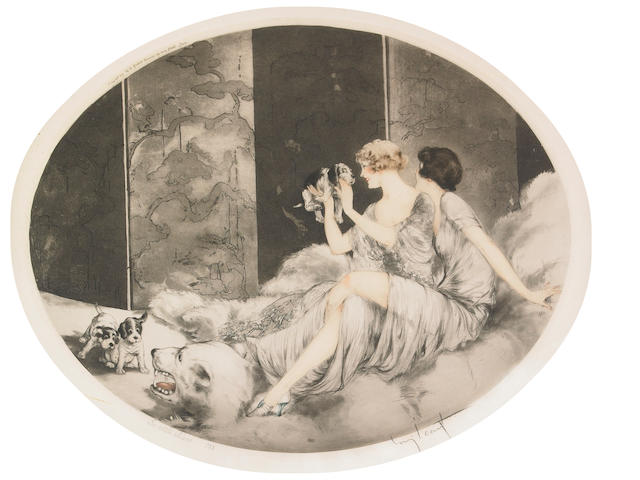 Louis Icart; Puppies;