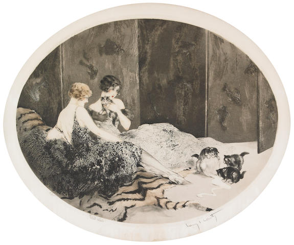 Louis Icart; Spilled Milk;