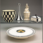 Five Continental black and white ceramic table articles