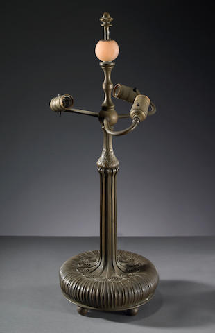 A Tiffany Studios patinated-bronze lamp base