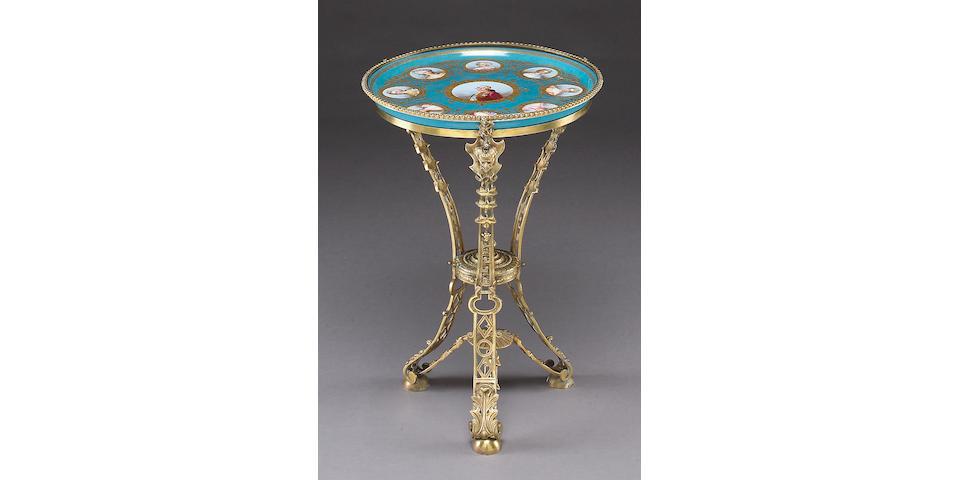 A good Napoleon III Sèvres style porcelain and gilt bronze guéridon