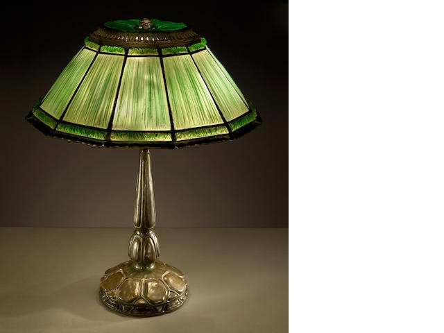 A Tiffany Studios Favrile Fabrique and bronze table lamp