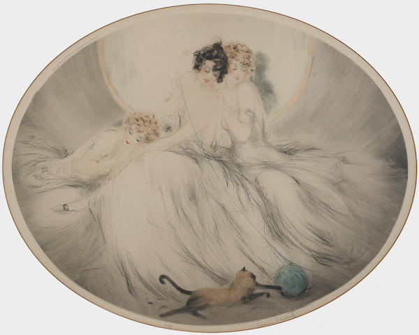 Louis Icart; Ball of Yarn;