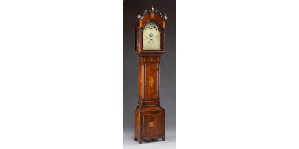 A Federal mahogany inlaid tall case clock