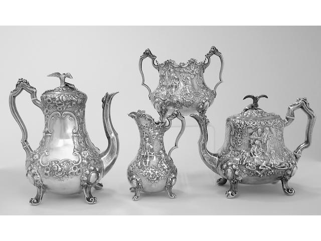 Victorian Silver Four Piece Tea and Coffee Set by James Charles Edington