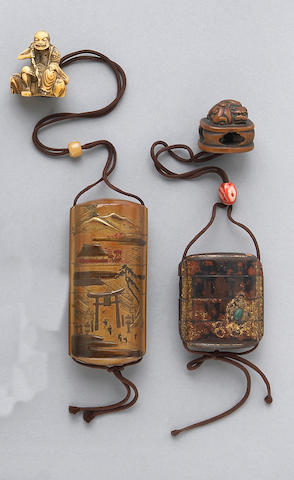 Two small Japanese lacquer decorated inro