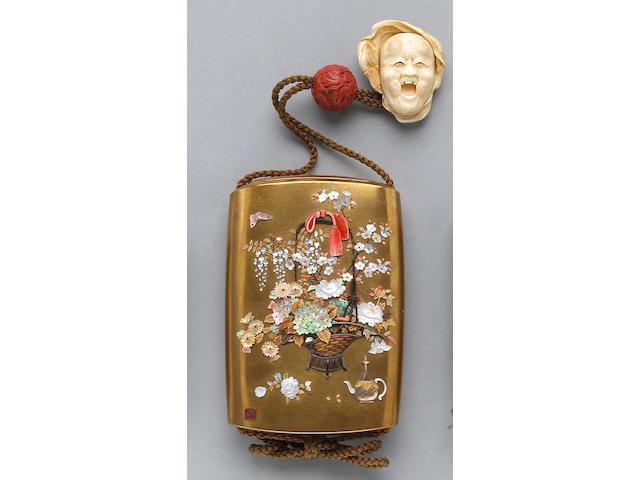 A good Shibayama style gilt lacquer inro 19th century