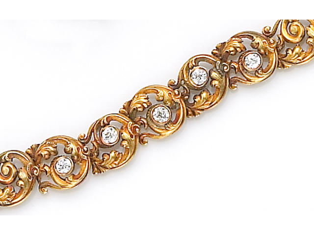 A diamond and fourteen karat gold bracelet,