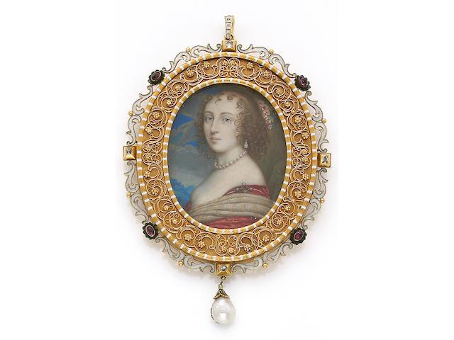 A gem-set, enamel and eighteen karat gold frame-pendant with portrait
