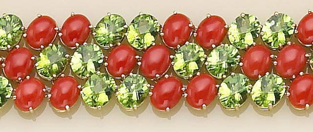 A peridot, coral and eighteen karat gold bracelet, Paolo Costagli