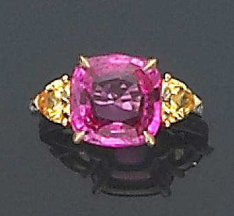 A multi-color sapphire, diamond, platinum and eighteen karat gold ring, Paolo Costagli