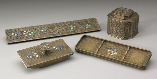 A Tiffany Studios bronze five-piece Abalone desk set