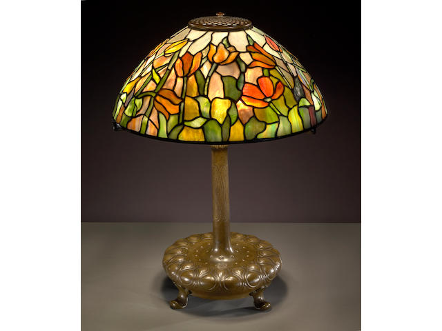 A Tiffany Favrile glass and bronze Tulip lamp