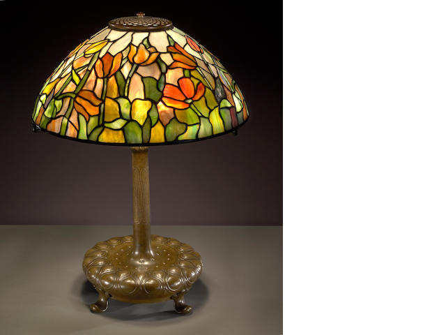 A Tiffany Favrile glass and bronze Tulip lamp