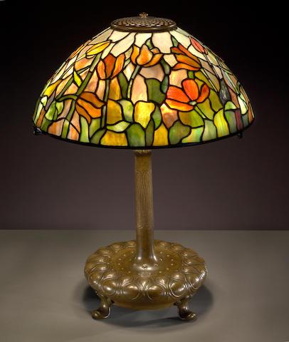 A Tiffany Studios Favrile glass and bronze Tulip lamp