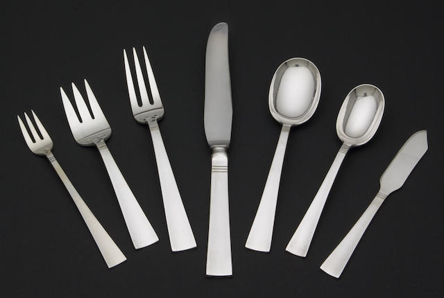 An Allan Adler hammered sterling flatware service for six