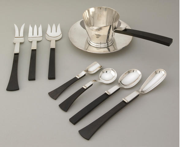 An Allan Adler ebony and sterling sauce boat and underplate, together with seven 'Town & Country' serving pieces