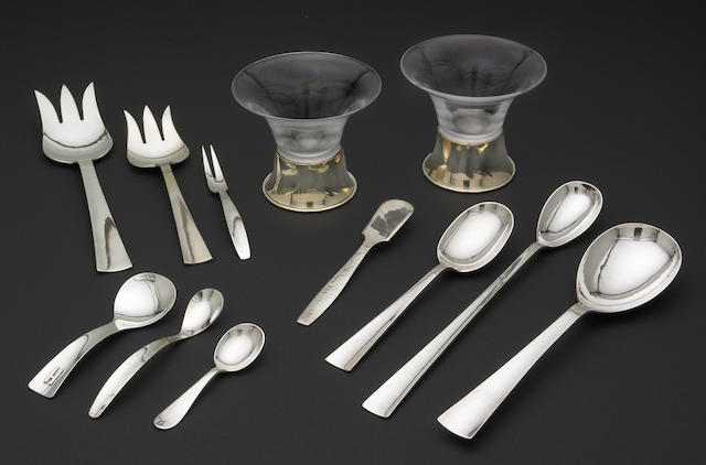An eight-piece set of Allan Adler sterling serving pieces in the 'Sunset' pattern