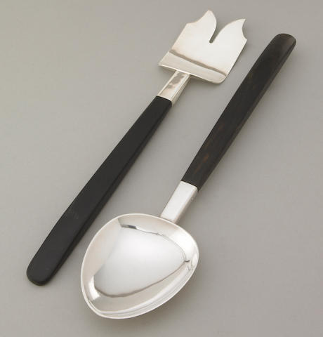 A Porter Blanchard silver and ebony serving fork and spoon