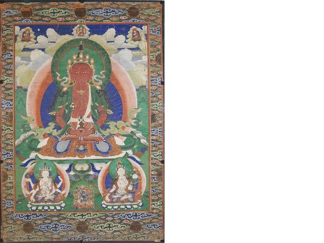 A Tibetan thangka depicting Amitayus 18th/19th Century