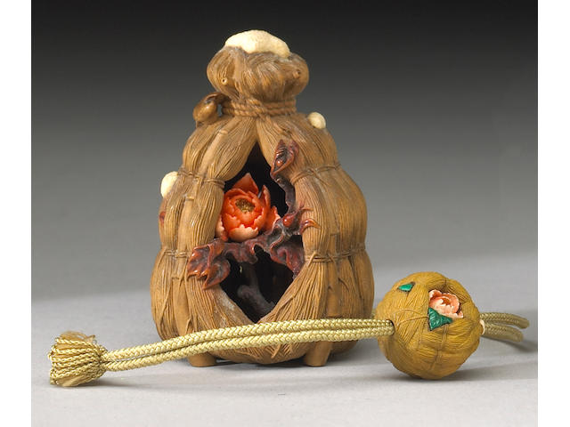 A fine contemporary wood and ivory netsuke and ojime set Signed Ikku (Isamu Kasuya, B.1949)